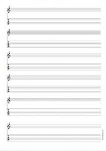 Papier Musique 6 portées avec tablature pour Guitare