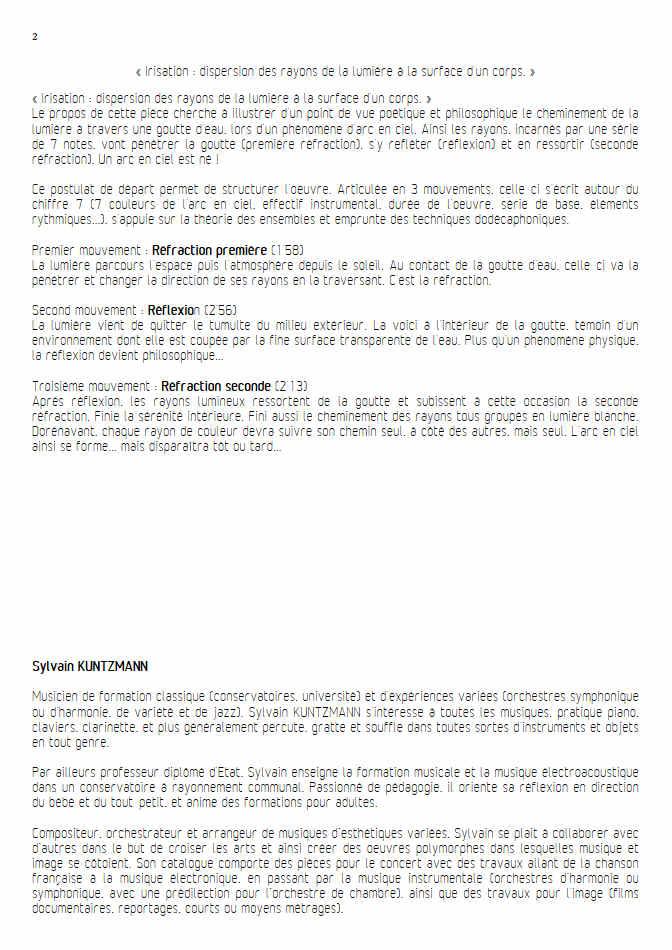 Irisation (3 Mvt) - Septuor - KUNTZMANN S. - Fiche Pédagogique