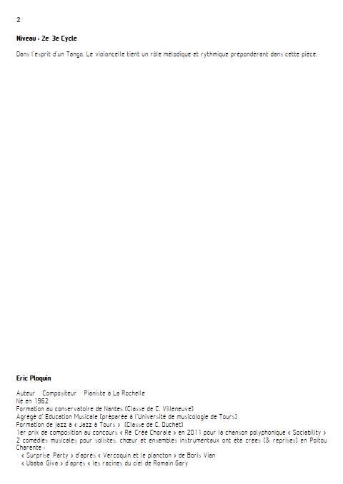 La cruche à l'eau - Quatuor à Cordes - PLOQUIN E. - Fiche Pédagogique