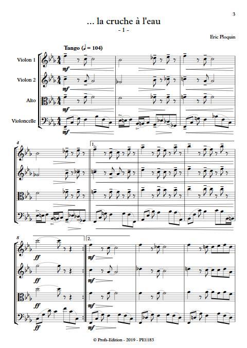 La cruche à l'eau - Quatuor à Cordes - PLOQUIN E. - Partition