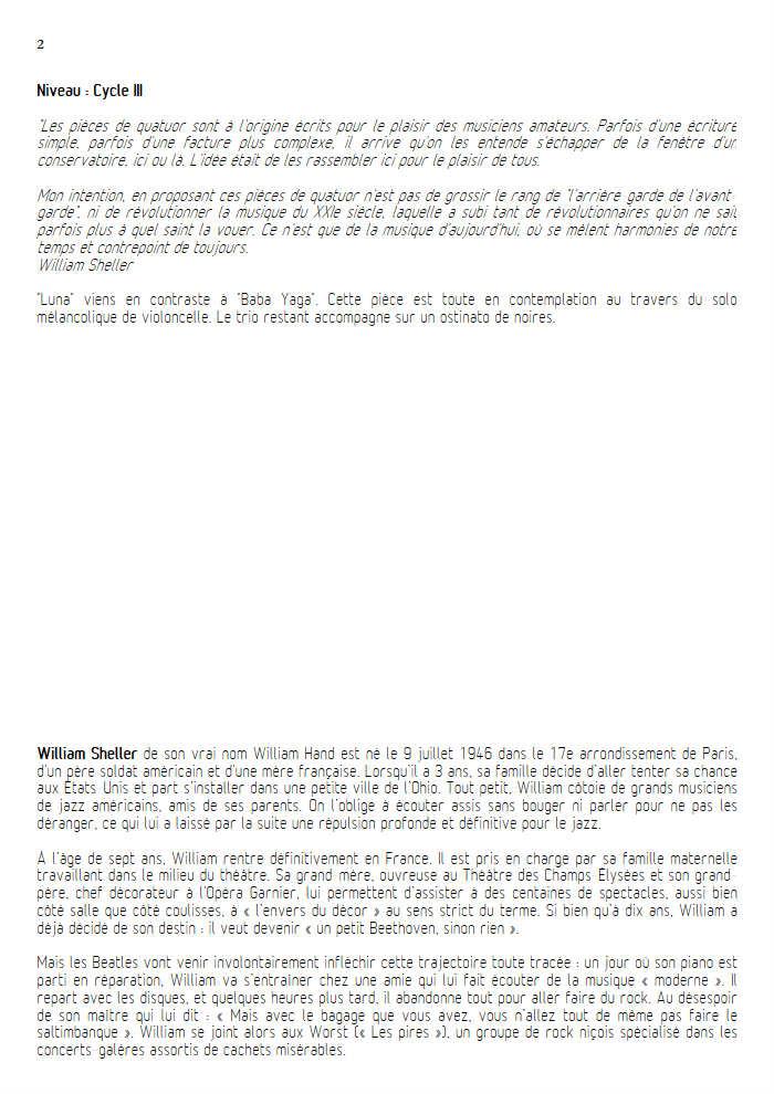 Luna - Quatuor à Cordes - SHELLER W. - Fiche Pédagogique