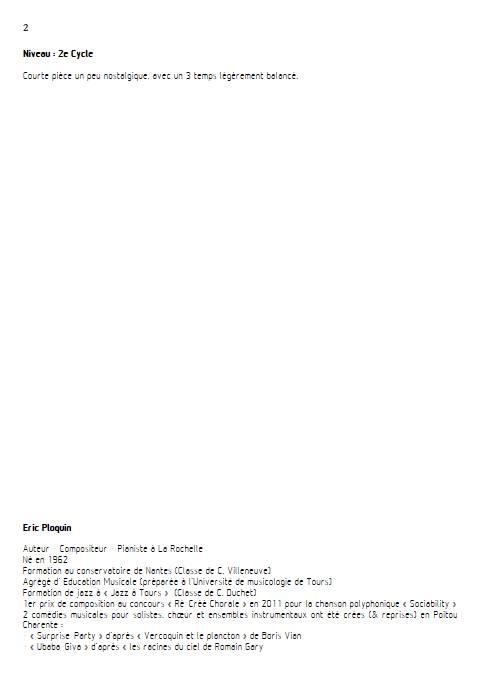 Pluvieux - Quatuor à Cordes - PLOQUIN E. - Fiche Pédagogique