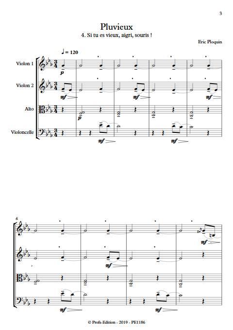 Pluvieux - Quatuor à Cordes - PLOQUIN E. - Partition