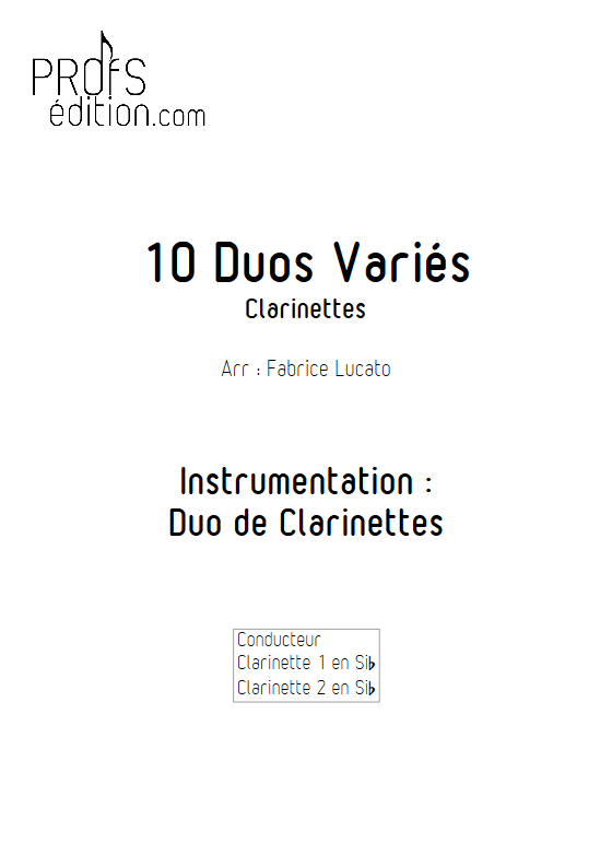 10 Duos Variés - Duo de Clarinettes - DIVERS - page de garde