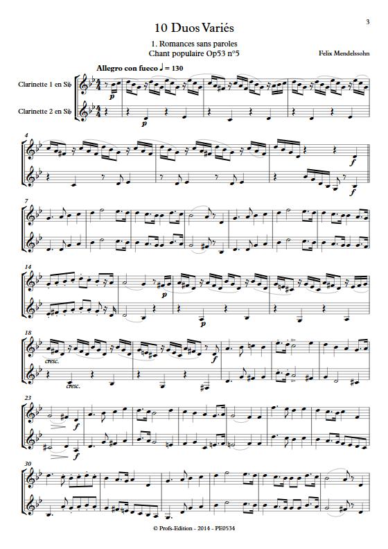 10 Duos Variés - Duo de Clarinettes - DIVERS - Partition