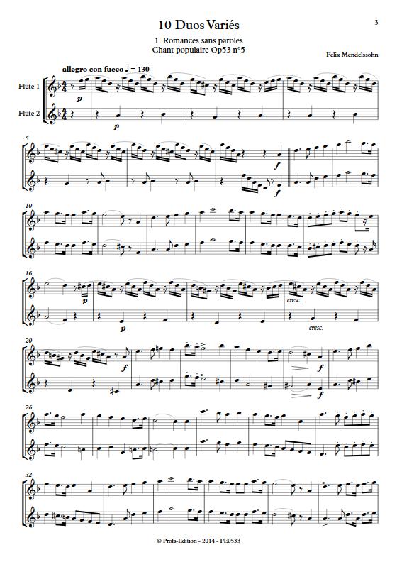10 Duos Variés - Duo de Flûtes - DIVERS - Partition