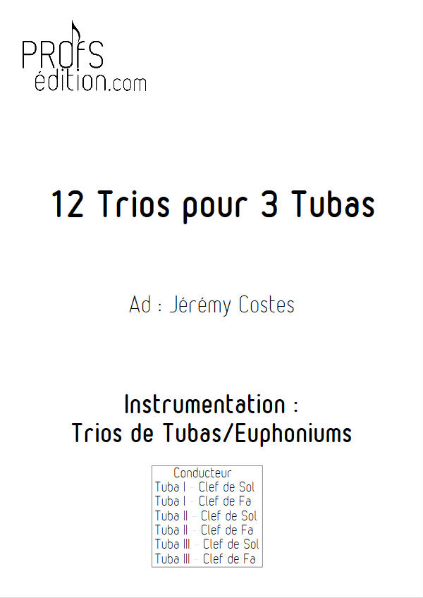 12 Trios pour Tubas - Trio Tubas - TRADITIONNEL - page de garde