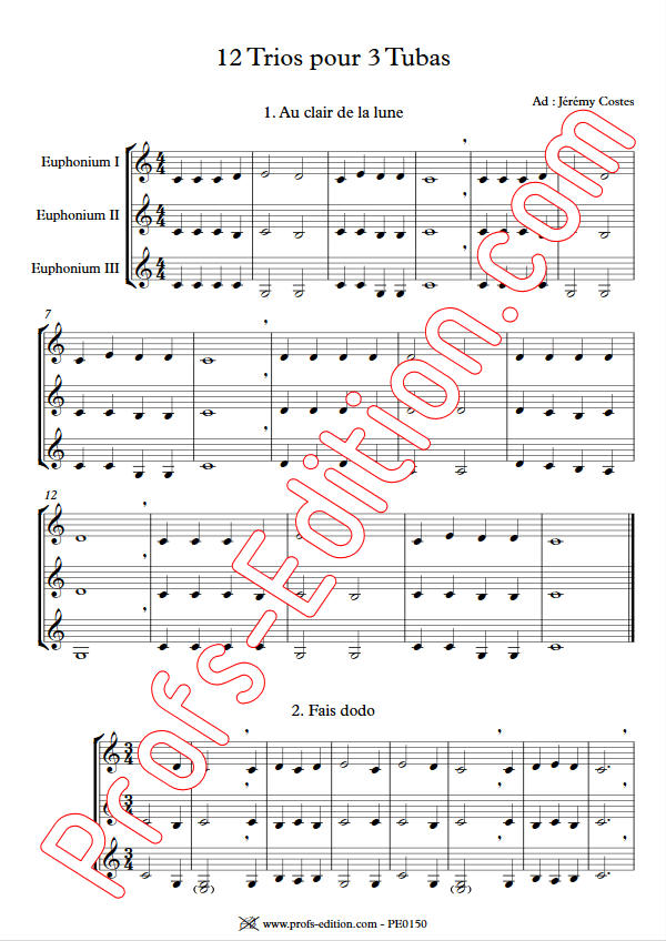 12 Trios pour Tubas - Trio Tubas - TRADITIONNEL - app.scorescoreTitle