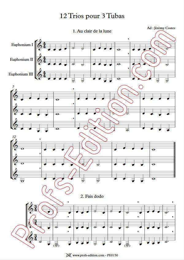 12 Trios pour Tubas - Trio Tubas - TRADITIONNEL - Partition