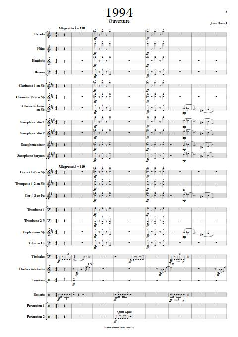 1994 - Orchestre d'Harmonie - HAMEL J. - Partition