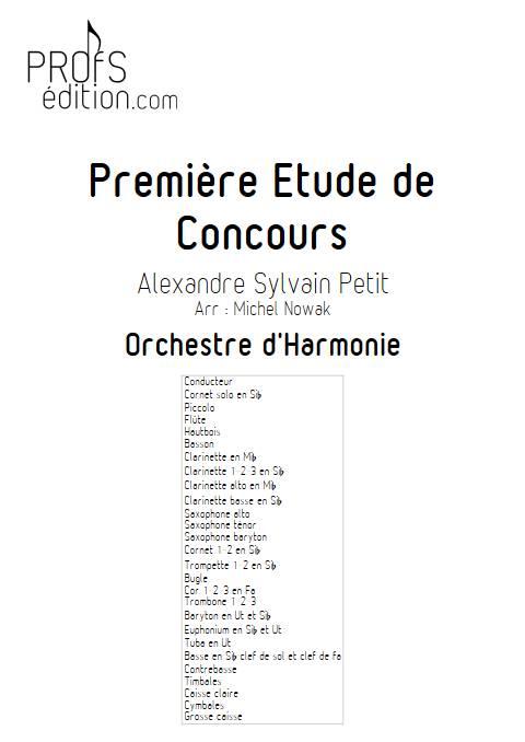 1ere étude de concours - Cornet et Orchestre d'Harmonie - PETIT A. S. - page de garde