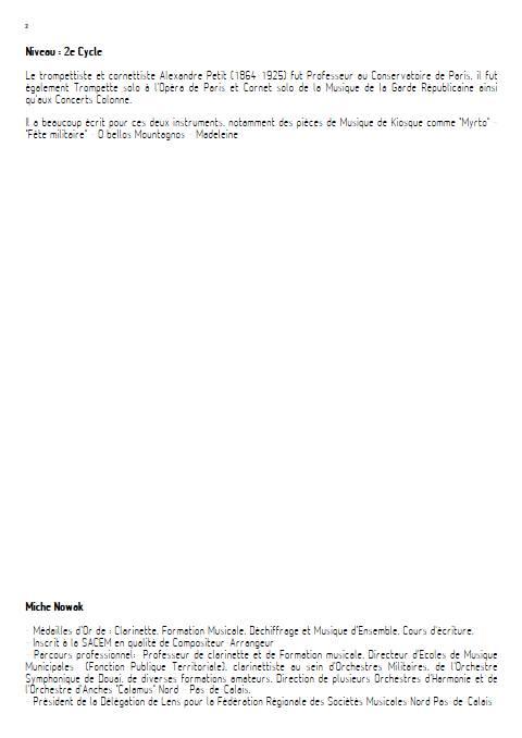1ere étude de concours - Cornet et Orchestre d'Harmonie - PETIT A. S. - Fiche Pédagogique