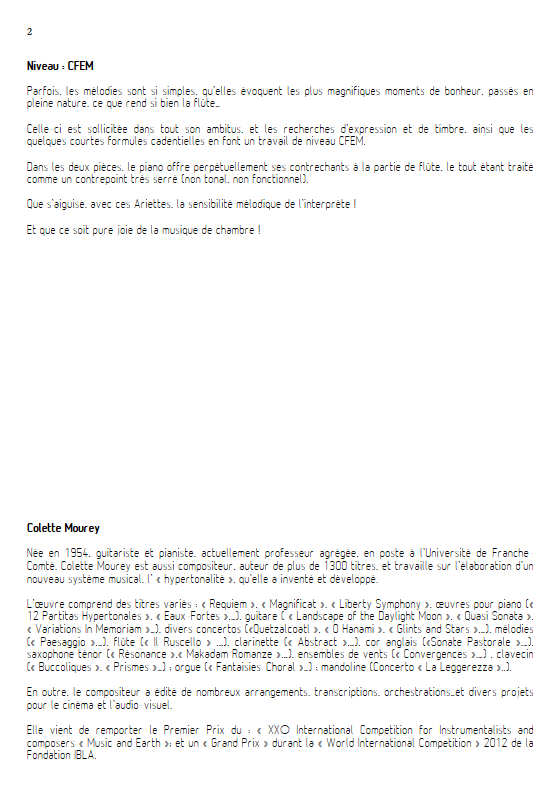 2 Ariettes - Duo Flûte & Piano - MOUREY C. - Fiche Pédagogique