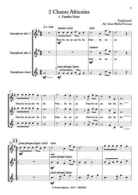 2 Chants Africains - Trio de Saxophones - TRAD. AFRICAIN - Partition