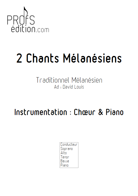 2 Chants Mélanésiens - Chœur et Piano - TRADITIONNEL - page de garde