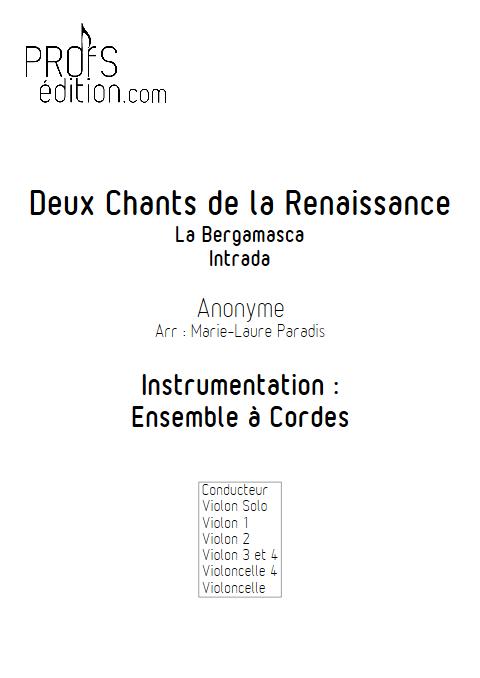 2 Chants de la Renaissance - Ensemble à Cordes - ANONYME - page de garde