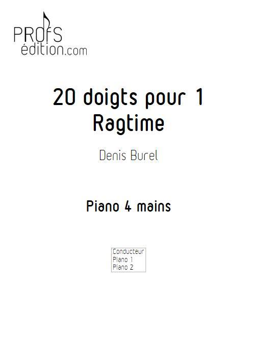 20 doigts pour 1 ragtime - Piano 4 mains - BUREL D. - page de garde