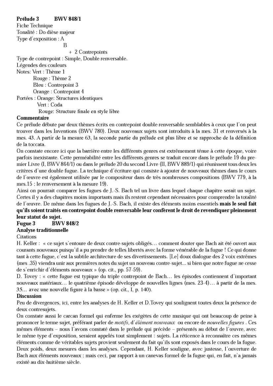 Clavier Bien Tempéré 1 BWV 848 - Analyse - CHARLIER C. - Fiche Pédagogique