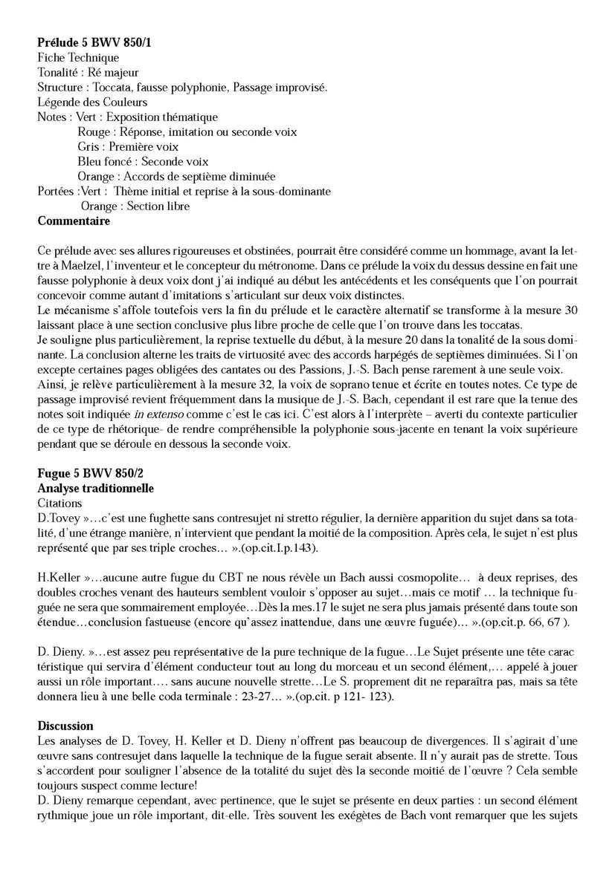 Clavier Bien Tempéré 1 BWV 850 - Analyse - CHARLIER C. - Fiche Pédagogique