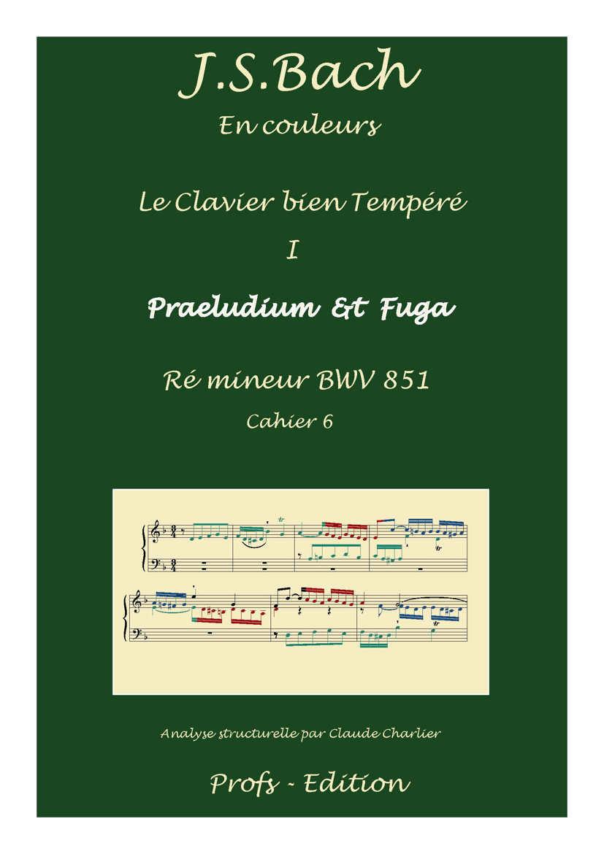 Clavier Bien Tempéré 1 BWV 851 - Analyse - CHARLIER C. - page de garde