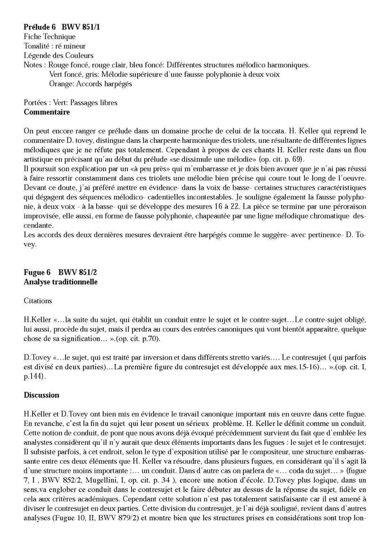 Clavier Bien Tempéré 1 BWV 851 - Analyse - CHARLIER C. - Fiche Pédagogique