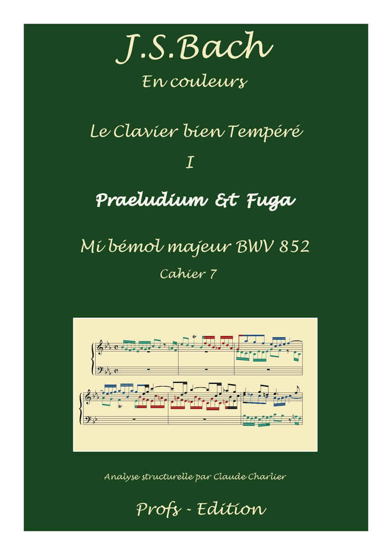 Clavier Bien Tempéré 1 BWV 852 - Analyse - CHARLIER C. - page de garde