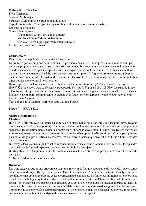 Clavier Bien Tempéré 1 BWV 852 - Analyse - CHARLIER C. - Fiche Pédagogique