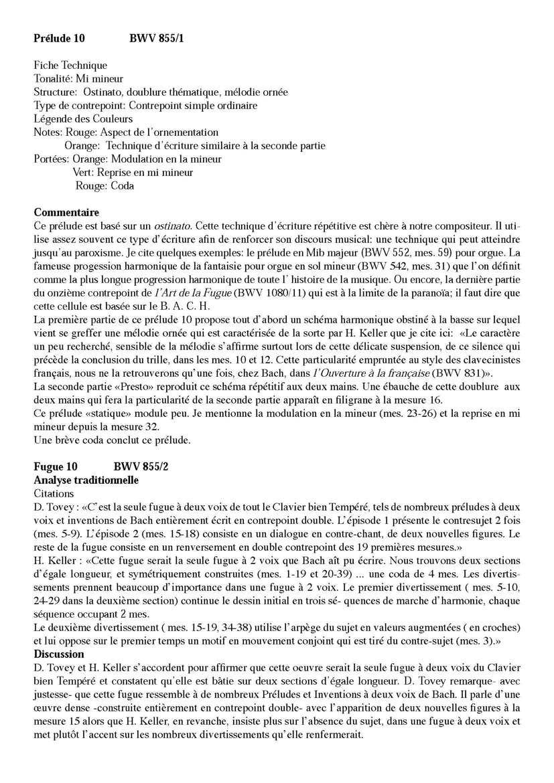 Clavier Bien Tempéré 1 BWV 855 - Analyse - CHARLIER C. - Fiche Pédagogique
