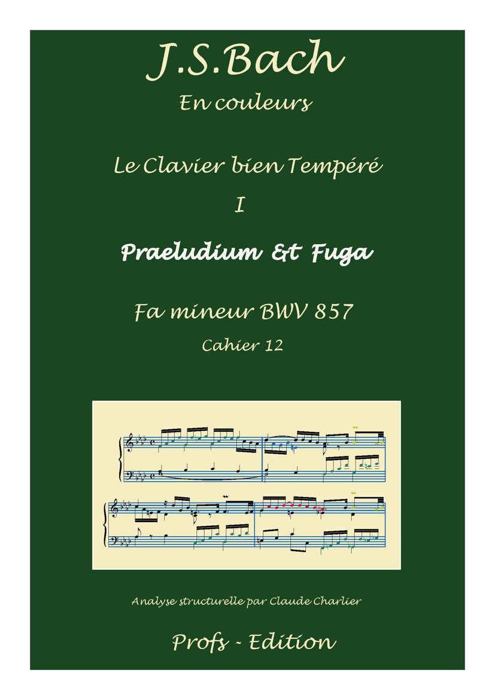 Clavier Bien Tempéré 1 BWV 857 - Analyse - CHARLIER C. - page de garde