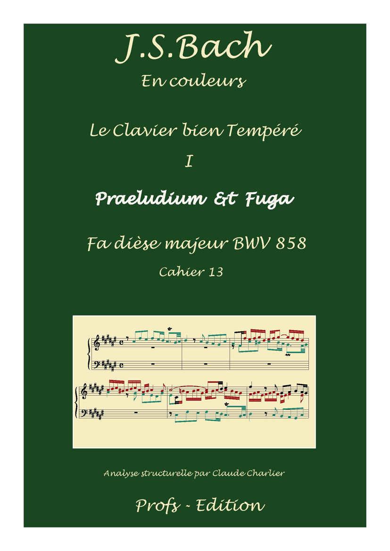 Clavier Bien Tempéré 1 BWV 858 - Analyse - CHARLIER C. - page de garde