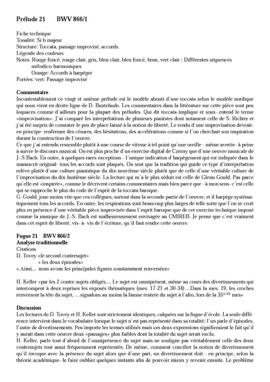 Clavier Bien Tempéré 1 BWV 866 - Analyse - CHARLIER C. - Fiche Pédagogique