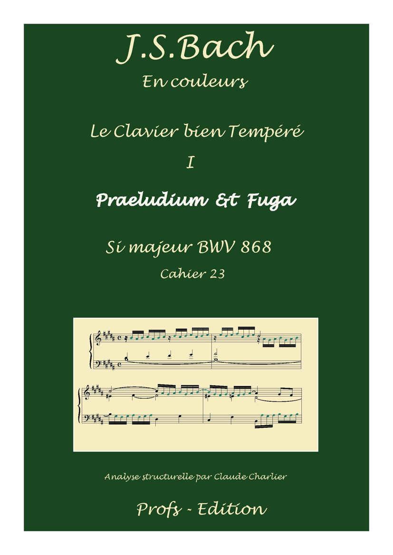 Clavier Bien Tempéré 1 BWV 868 - Analyse - CHARLIER C. - page de garde