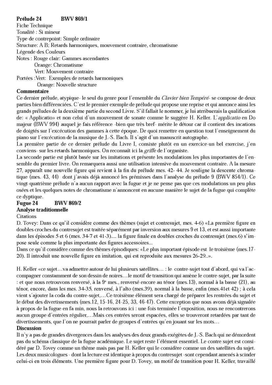 Clavier Bien Tempéré 1 BWV 869 - Analyse - CHARLIER C. - Fiche Pédagogique