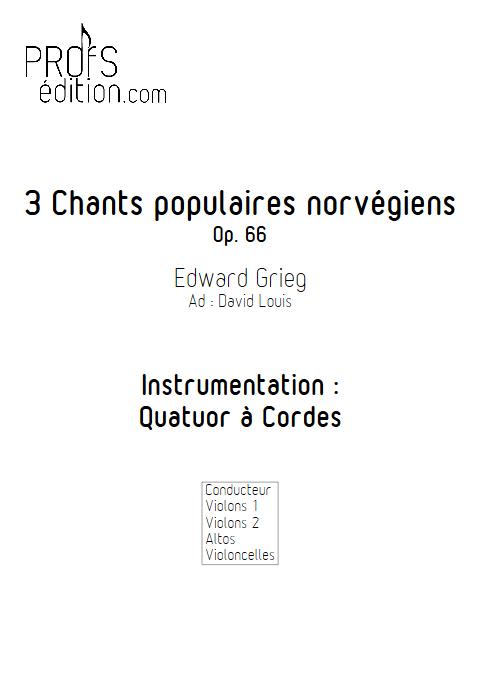 3 chants Norvegiens Op. 66 - Quatuor à Cordes - GRIEG E. - page de garde