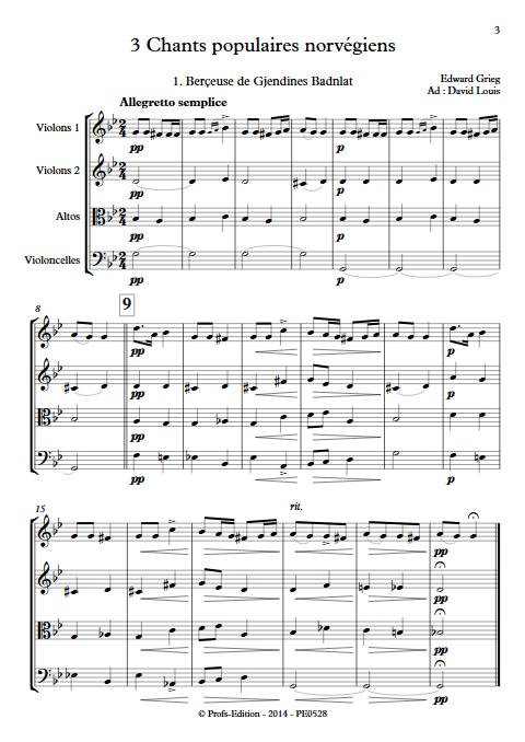 3 chants Norvegiens Op. 66 - Quatuor à Cordes - GRIEG E. - Partition