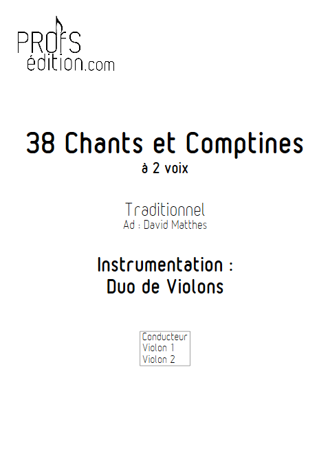 38 Chants et Comptines - Duos de Violons - TRADITIONNEL - page de garde