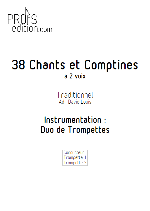 38 Chants et Comptines - Duos de Trompette - TRADITIONNEL - page de garde
