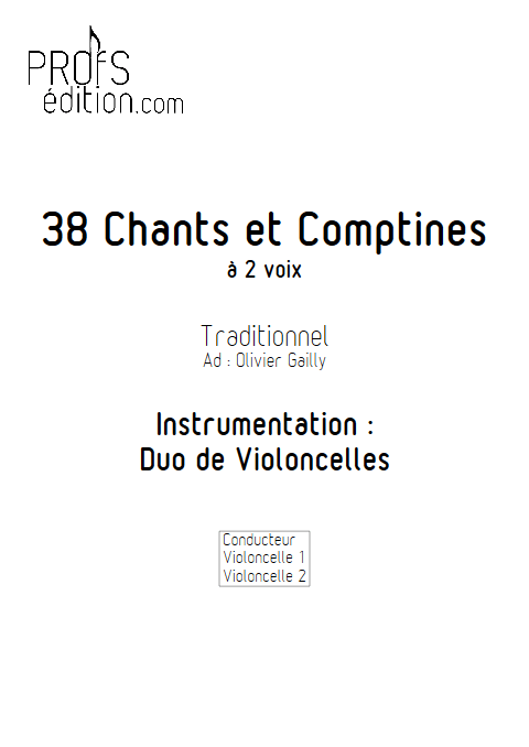 38 Chants et Comptines - Duos de Violoncelles - TRADITIONNEL - page de garde