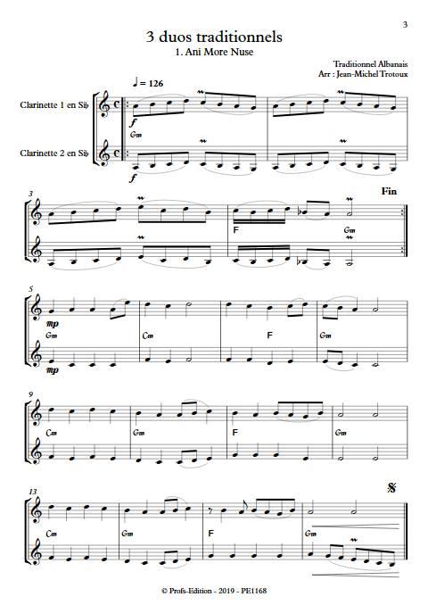 3 Duos - Duos de Clarinettes - TRADITIONNEL - app.scorescoreTitle