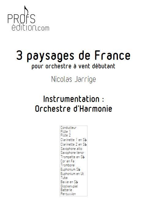 3 Paysages de France - Orchestre d'Harmonie - JARRIGE N. - page de garde