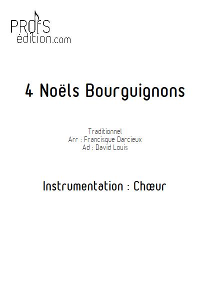 4 Noëls Bourguignons - Chœur seul - TRADITIONNEL - page de garde