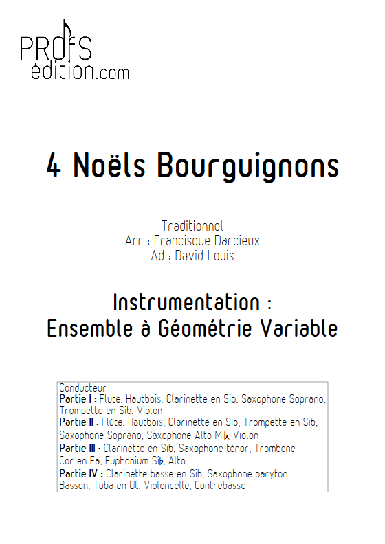 4 Noëls Bourguignons - Ensemble à Géométrie Variable & Chœur - TRADITIONNEL - page de garde