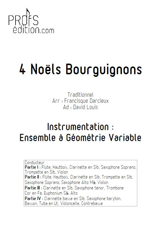 4 Noëls Bourguignons - Ensemble à Géométrie Variable & Chœur - TRADITIONNEL - page de garde