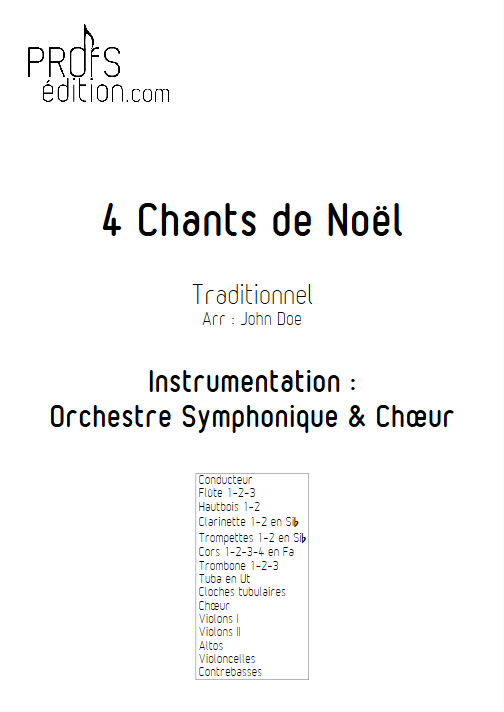 4 Chants de Noël - Orchestre Symphonique & Chœur - TRADITIONNEL - page de garde
