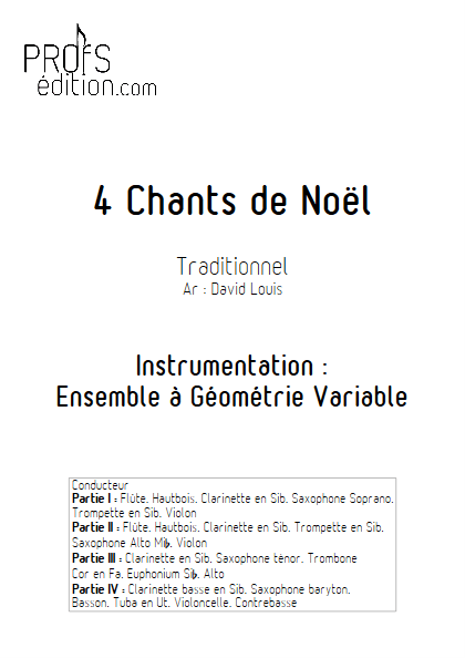 4 Chants de Noël - Ensemble à Géométrie Variable - TRADITIONNEL - page de garde