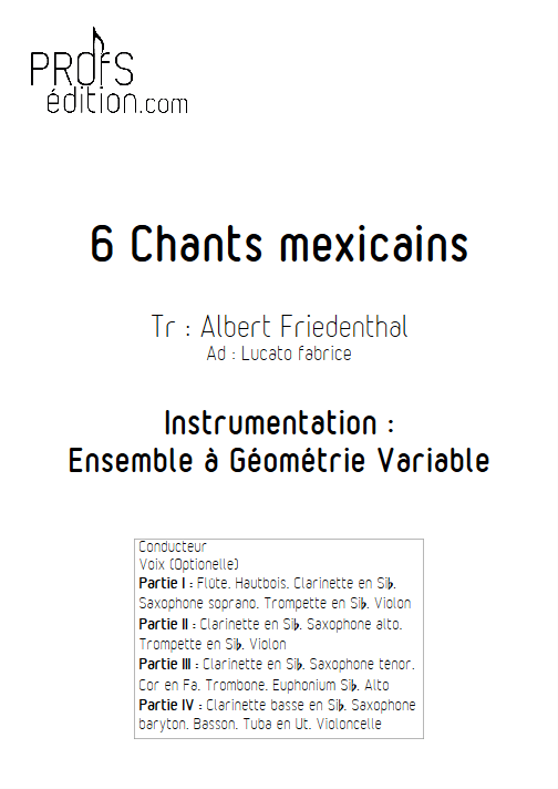 6 Chants Méxicains - Ensemble Variable - TRADITIONNEL MEXICAIN - page de garde