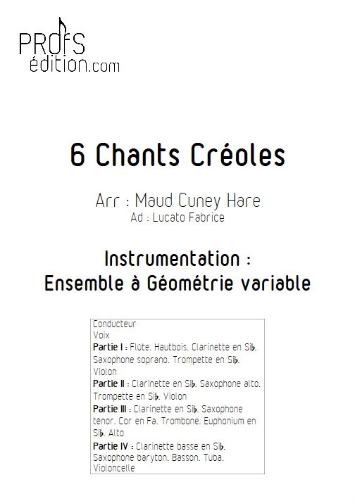 6 Chants Créoles - Ensemble Variable - TRADITIONNEL CREOLE - page de garde