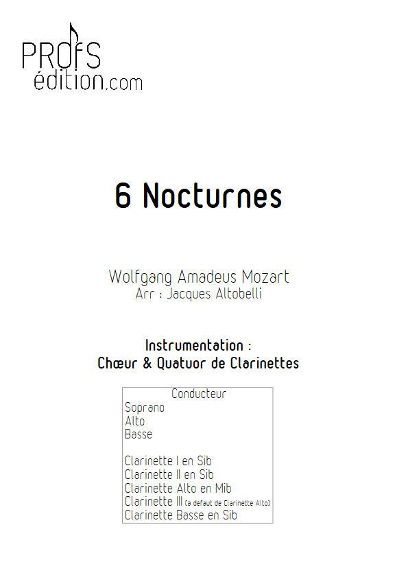 6 Nocturnes  - Chœur & Quatuor Clarinettes - MOZART W. A. - page de garde
