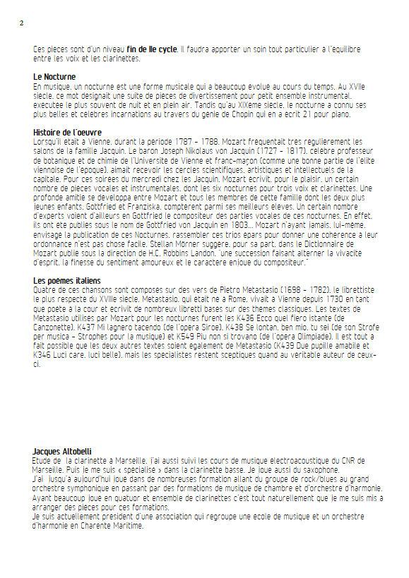 6 Nocturnes  - Chœur & Quatuor Clarinettes - MOZART W. A. - Fiche Pédagogique