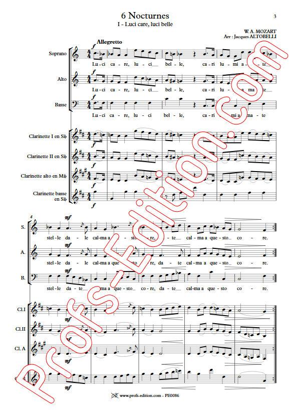 6 Nocturnes  - Chœur & Quatuor Clarinettes - MOZART W. A. - Partition